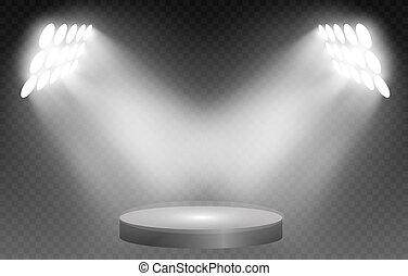 illustration., trasparente, fondo., podio, vettore, illuminato, rotondo, riflettori