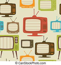 illustration., tv, pattern., seamless, vettore, retro