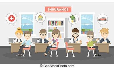 illustration., ufficio, assicurazione