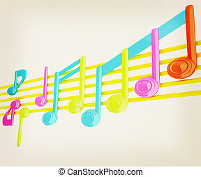 illustration., vendemmia, note, colorfull, stave., musica, vario, 3d., style., 3d