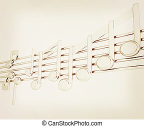 illustration., vendemmia, note, metall, stave., musica, vario, 3d., style., 3d
