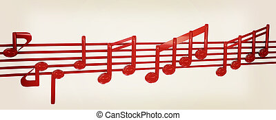 illustration., vendemmia, note, stave., vario, musica, 3d., style., rosso, 3d