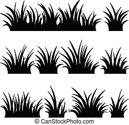 illustration., vettore, bianco, fondo., erba, set, silhouette