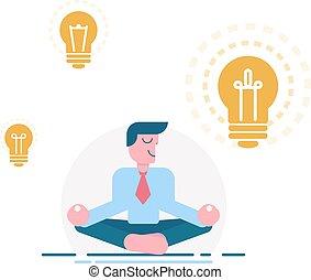 illustration., vettore, calma, affari, meditare, sorridente, luce, simbolo, bulbo, carattere, uomo affari, uomo, idea., cartone animato, ispirazione, fondo., bianco, idea, attento, visionario