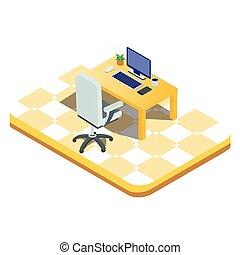 illustration., vettore, concetto, statistica, infographics., stile, appartamento, dati, laptop, elementi, analisi, -, research., isometrico