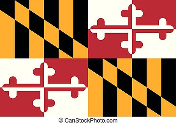 illustration., vettore, flag., unito, maryland, stati, america.