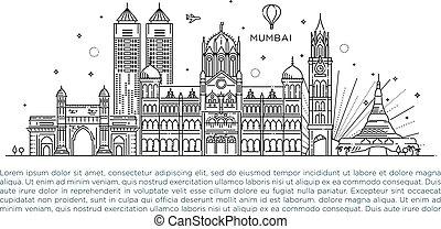 illustration., vettore, fondo., skyline., turismo, stile, linea, viaggiare, dettagliato, mumbai, arte