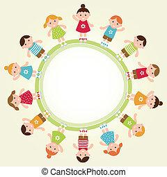 illustration., vettore, frame., bambini