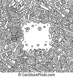 illustration., vettore, hippie, mano, disegnato, hippy, cornice, design., scheda, doodles