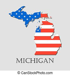 illustration., -, vettore, michigan, americano, programma condizione, bandiera