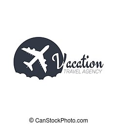 illustration., viaggiare, aeroplano., vettore, sagoma, logotipo