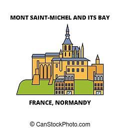 illustration., viaggiare, -, baia, francia, mont, vettore, punto di riferimento, normandia, saint-michel, design., linea, orizzonte, relativo, lineare