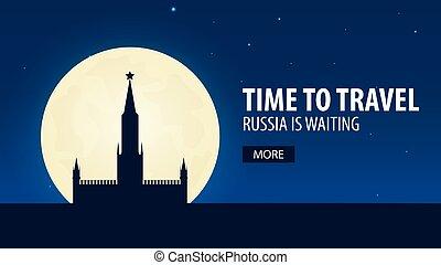 illustration., viaggiare, travel., vettore, tempo, russia., waiting., russia