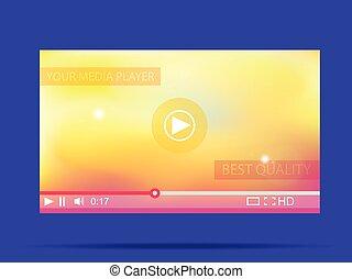 illustration., web., player., vettore, video, media, interfaccia