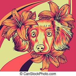illustration., wreath., ritratto, cane, vettore, testa fiore, spaniel