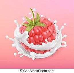 illustration., yogurt., 3d, frutta, realistico, vettore, splash., lampone, latte, icona