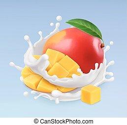 illustration., yogurt., frutta, mango, realistico, vettore, splash., 3d, latte, icona