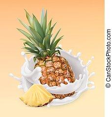 illustration., yogurt., frutta, realistico, vettore, splash., ananas, 3d, latte, icona