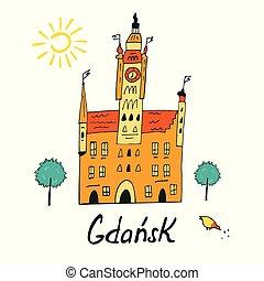 illustrato, città, gdansk, salone, scheda