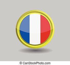 illustrato, icona, sfondo bianco, vettore, francia