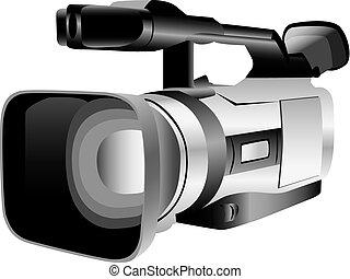 illustrato, macchina fotografica, video
