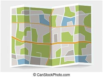 illustrazione, 3d, map., piegato, città