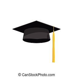 illustrazione, accademia, berretto, graduazione, vettore, cappello, icona