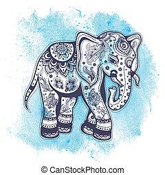 illustrazione, acquarello, vendemmia, elefante