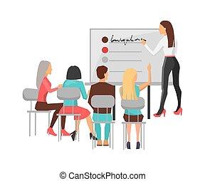illustrazione, addestramento, vettore, lavorante, affari