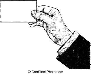illustrazione affari, mano, vettore, artistico, presa a terra, vuoto, disegno, scheda