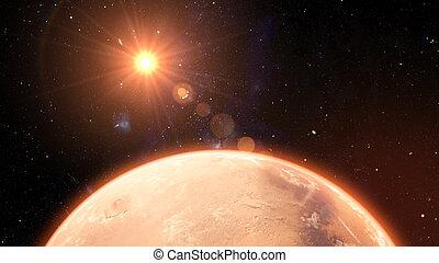 illustrazione, alba, pianeta, marte, 3d, tramonto, spazio