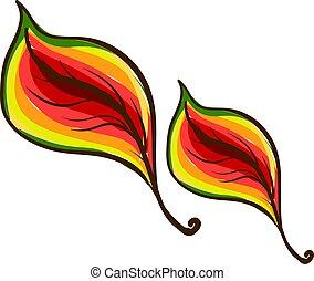 illustrazione, albero, foglie, fondo., multicolor, vettore, bianco