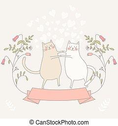 illustrazione, amore, due, cats.