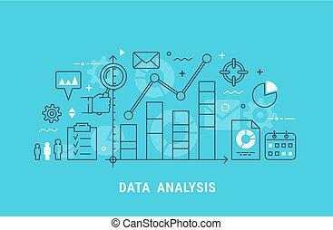 illustrazione, analisi, vettore, linea sottile, dati