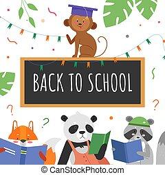 illustrazione, animale, cartone animato, studente, animalistic, appartamento, educazione, studio, caratteri, vettore, concetto, libri, leggere, fondo, educativo