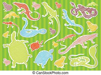 illustrazione, animali, collezione, fondo