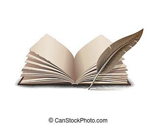 illustrazione, aperto, vettore, -, attrezzo, penna, libro, inchiostro