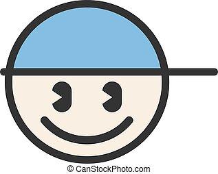 illustrazione, appartamento, cerchio, berretto, faccia, ragazzo