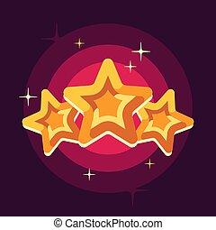 illustrazione, appartamento, stelle, fondo, rosso, tre, dorato