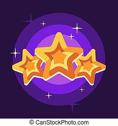 illustrazione, appartamento, stelle, fondo, viola, tre, dorato