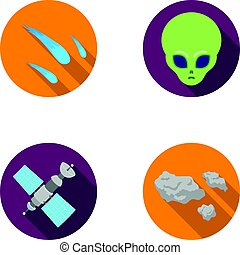 illustrazione, appartamento, stile, set, solare, spazio, simbolo, alien., web., meteorite, faccia, stazione, asteroide, collezione, automobile, batterie, icone, vettore, nave, casato