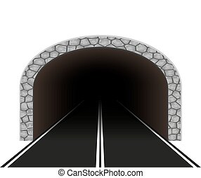 illustrazione, automobile, tunnel, vettore