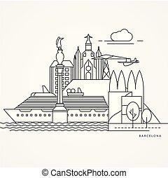 illustrazione, barcellona, stile, linea, appartamento, uno, lineare, spain.