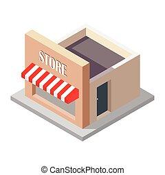 illustrazione, bianco, isolato, fondo, isometrico, vettore, negozio
