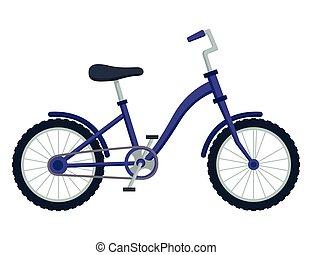 illustrazione, bicicletta, capretto, vettore, bambini, bianco, bicicletta, fondo.