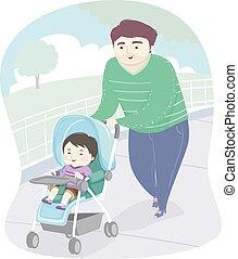 illustrazione, capretto, ragazzo, passeggino, parco, uomo, babbo