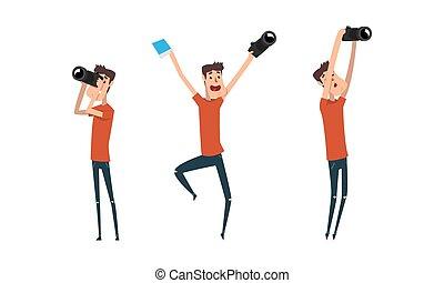 illustrazione, carattere, fotografo, cartone animato, presa, macchina fotografica, paparazzi, set, foto, vettore, uomo