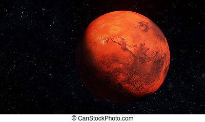 illustrazione, caratteristiche, alto, dettagliato, superficie, 3d, pianeta, render, marte