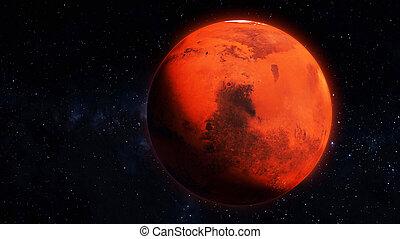 illustrazione, caratteristiche, dettagliato, superficie, alto, render, pianeta, 3d, marte