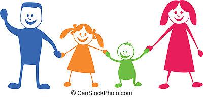 illustrazione, cartone animato, family., felice